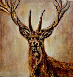 Landelijke-schilderijen-Helvoirt-Braband-Kunstenaar-Monique van Gemert Smulders-Galerie, Atelierboerderij het Klein Laar-Helvoirt-Serie Brabantse beesten-Hert. Helvoirt Brabant