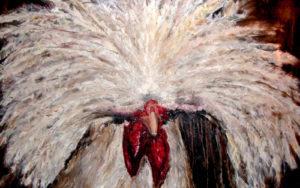 Kunstenaar-Monique van Gemert Smulders-Galerie, Atelierboerderij het Klein Laar-Helvoirt-Serie Brabantse beesten-Kuifhoen-Helvoirt-Brabant-landelijke-schilderijen