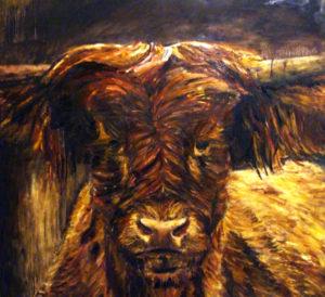 Landelijke schilderijen- Helvoirt-Brabant-Kunstenaar-Monique van Gemert Smulders-Galerie, Atelierboerderij het Klein Laar-Helvoirt-Serie Brabantse beesten-Schotse Hooglander. Helvoirt